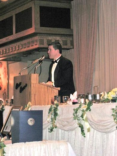 Dean DePiero at the podium during this year's Parma Area Chamber of Commerce ball on Saturday, January 27, 2007, where he served as the event's emcee.